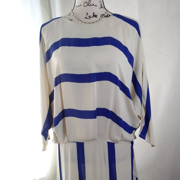 Vintage Dresses & Skirts - Vintage Lynda Pizzuto Pheobe Blue Ivory Dress 13
